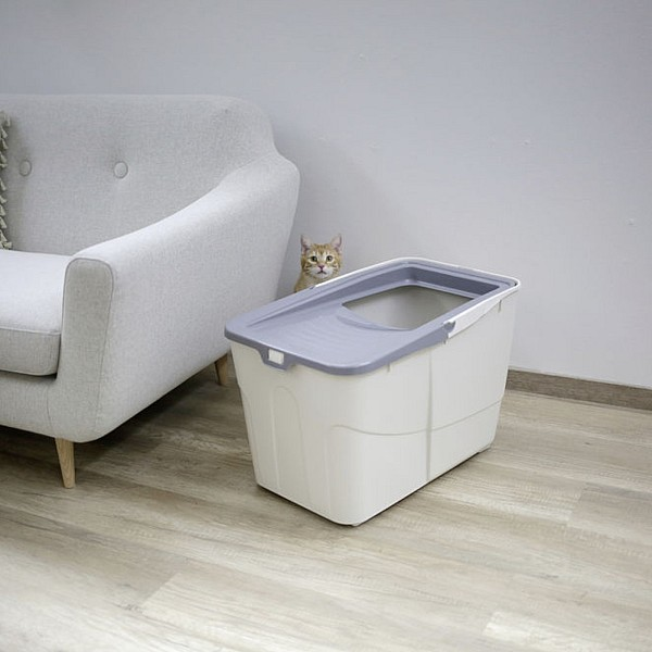 Cat Toilet Buxo, grey/blue, 56 x 39 x 38.5 cm, with Scoop