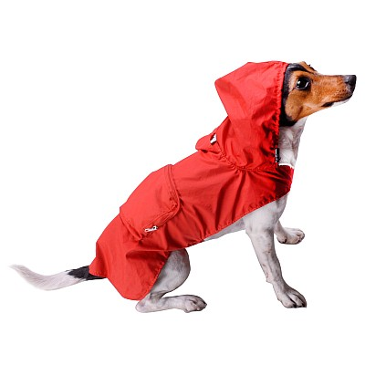 Raincoat For Dog With Pockets Color Red Size S Length 30cm