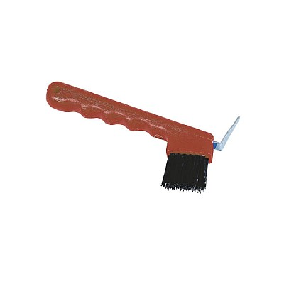 Hoof Pick With Brush Red
