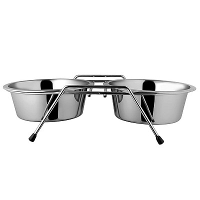 Silver Bowl Stand + 2 bowls 0,7l